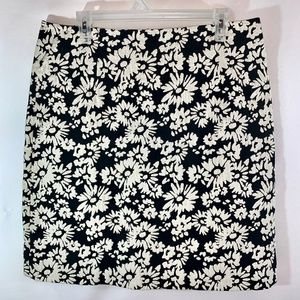 Blue Les Copains Black with White Flowers Skirt